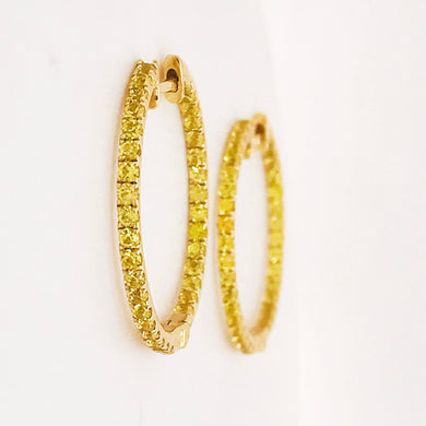 Yellow Sapphire Inside Out Hoop Earrings