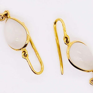 Moonstone and 18 Karat Yellow Gold Pear Shaped Dangle Earrings