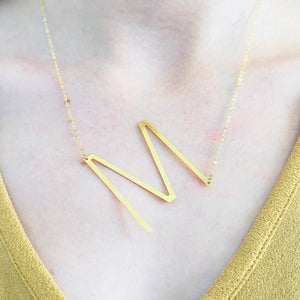 Mary Necklace - Large Initial Necklace 14K Gold