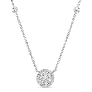 14k White Gold Diamond Flower and Halo Necklace with Two Stations