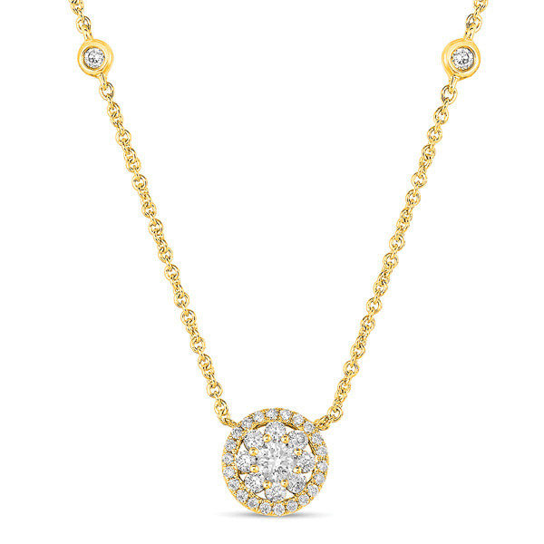 14k Gold Diamond Flower and Halo Necklace with Two Stations