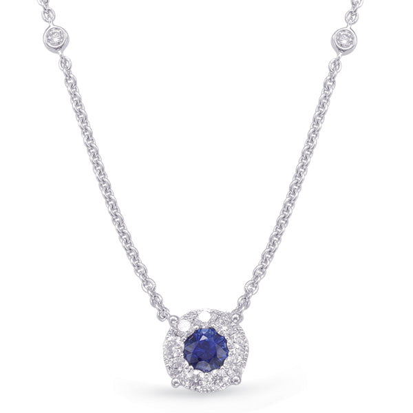 Sapphire and Diamond Halo Necklace with Two Stations in 14k Gold
