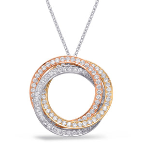 Tricolor Diamond Circle Pendant Necklace in 14k Gold