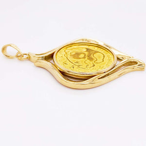 1985 Panda Coin Gold Pendant, 24 Karat Gold Panda Coin, 1/4th oz Gold Panda Coin