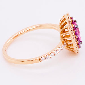 Oval Pink Sapphire & Diamond Halo Fashion Ring 14K Gold