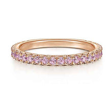 Genuine Pink Gemstone Stackable 3/4 Band