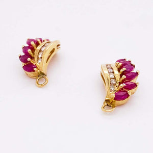Ruby Earring Jackets, Red Ruby and Diamond in 14 Karat White Gold Earring Charms