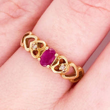 Petite Ruby Ring with Diamonds, Heart Ring, Three-Stone, Love Ring, Promise Ring