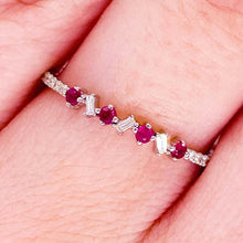 Ruby Diamond Ring, 14K White Gold, Round Ruby Baguette Diamond Band Stackable