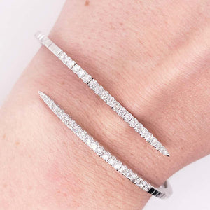 Diamond Wrap Bracelet, Bypass Bangle in 14 Karat White Gold