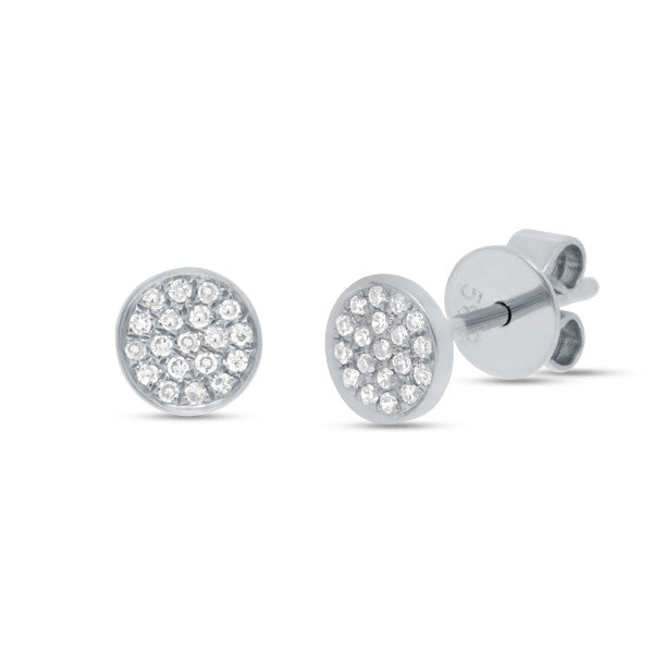 14K White Gold Pave Diamond Stud Earrings
