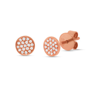 14K Rose Gold Pave Diamond Stud Earrings