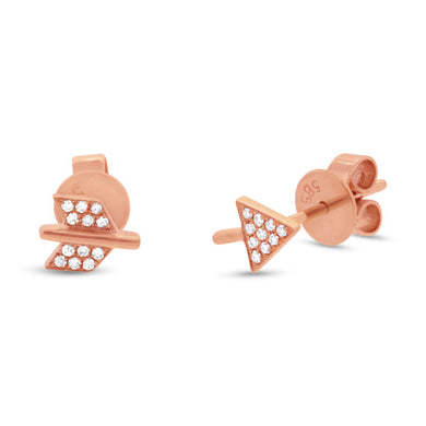 Diamond Arrow Stud Earrings in 14k Gold