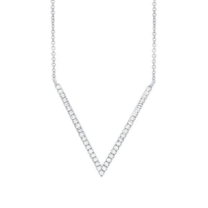 "Diamond ""V"" Pendant Necklace in 14k Gold"