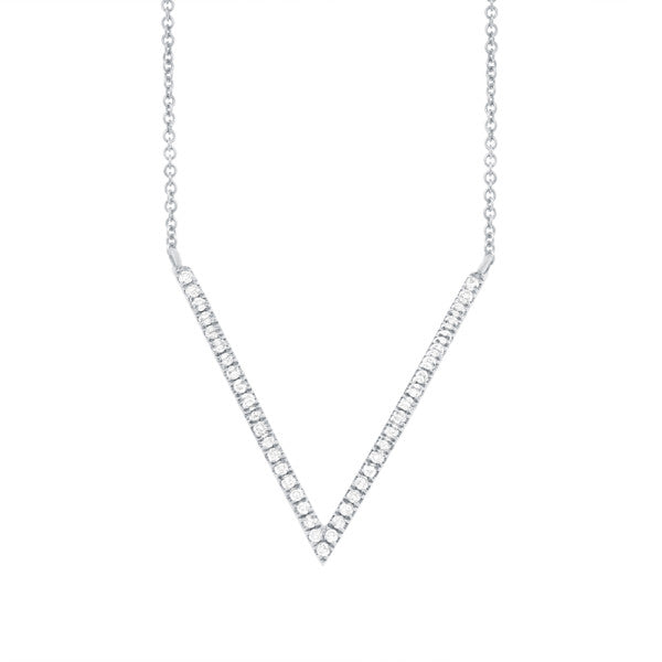 14k White Gold Diamond Arrow Pendant Necklace