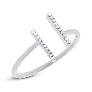 14K White Gold Diamond Open Double Bar Ring