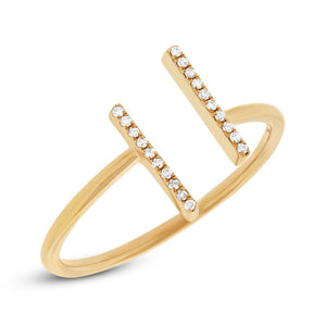 14K Gold Diamond Open Double Bar Ring