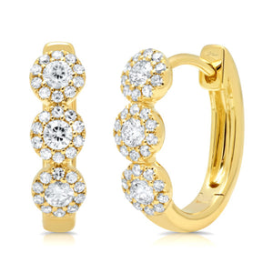 14k Gold Diamond Three Halos Huggie Earrings