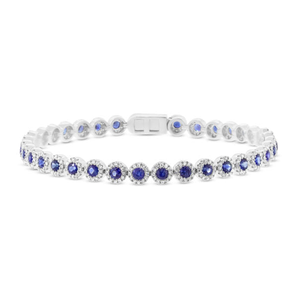 Sapphire and Diamond Halo Tennis Bracelet in 14k Gold