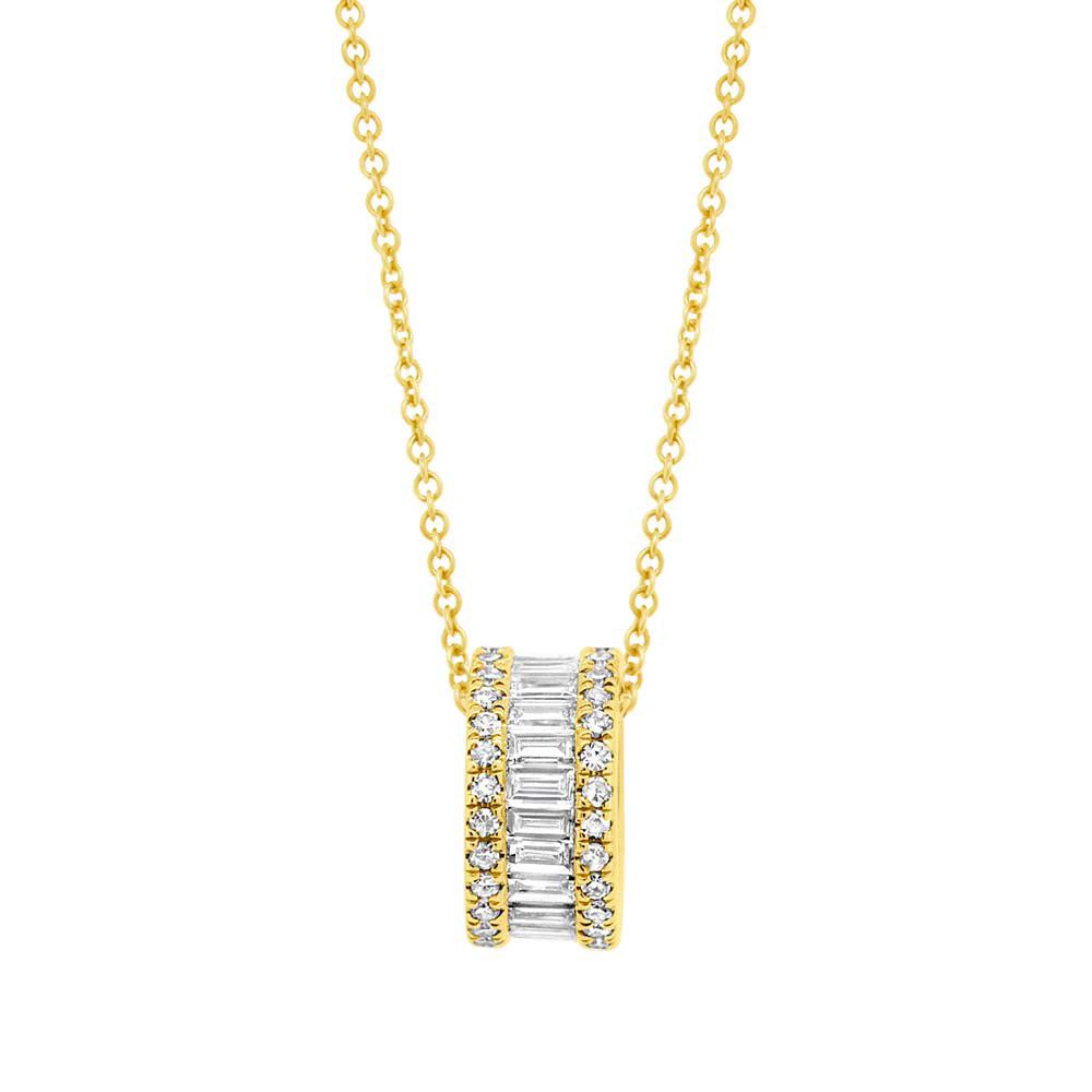 Diamond Barrel Necklace in 14k Gold
