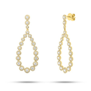 14k Gold Diamond Drop Earrings