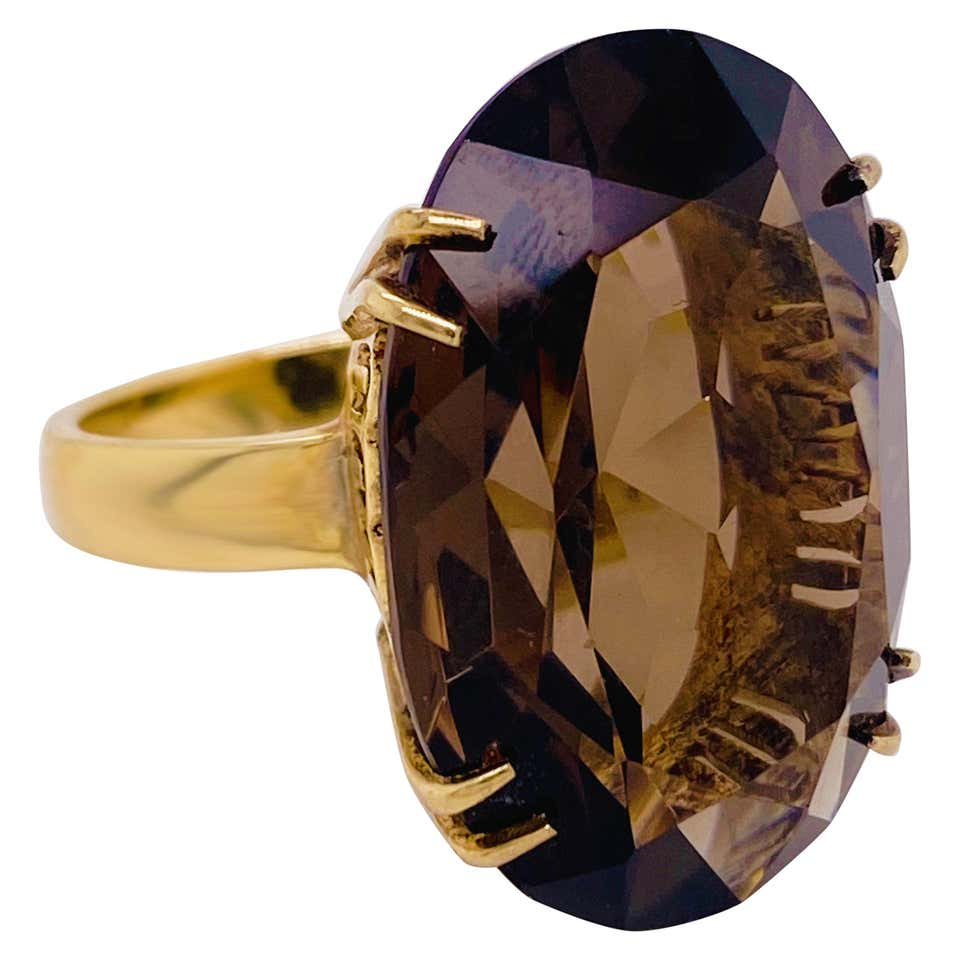 Smokey Quartz Solitaire 14 Karat Yellow Gold Ring