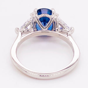 Sapphire & Diamond Three Stone Ring in Platinum