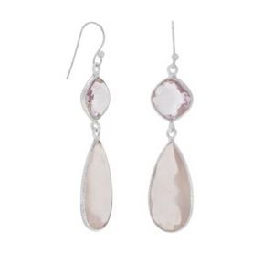 Sterling Silver, Pink Amethyst & Rose Quartz Drop Earrings