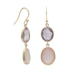 Pink Amethyst & Rose Quartz Drop Earrings in 14k Gold Vermeil
