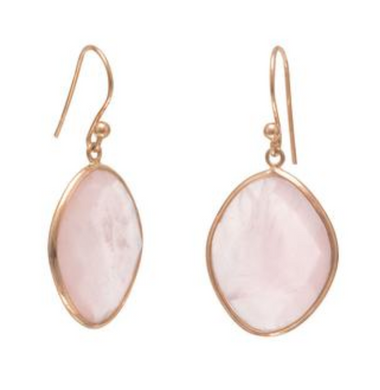 Rose Quartz Drop Earrings in 14k Gold Vermeil
