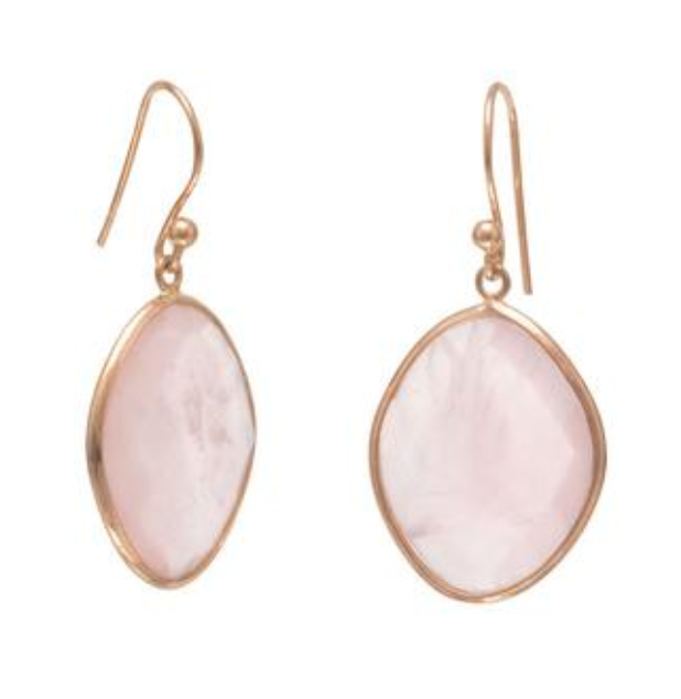 14k Rose Gold Vermeil & Rose Quartz Drop Earrings