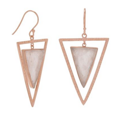 Geometric Rose Quartz Drop Earrings in 14k Gold Vermeil