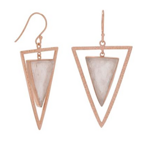 14k Rose Gold Vermeil & Rose Quartz Shield Dangle Earrings