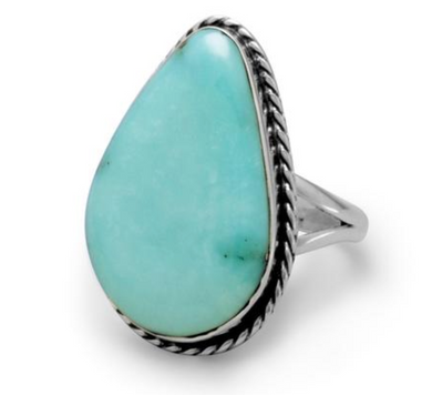 Sterling Silver & Freeform Turquoise Ring