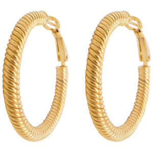14 Karat Yellow Gold Twisted Medium Hoop Earrings
