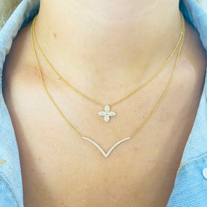 Diamond Yellow Gold V Necklace