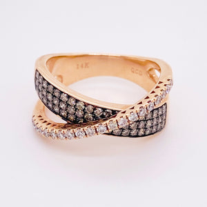 Diamond X Ring with White and Champagne Diamonds in 14 Karat Rose Gold