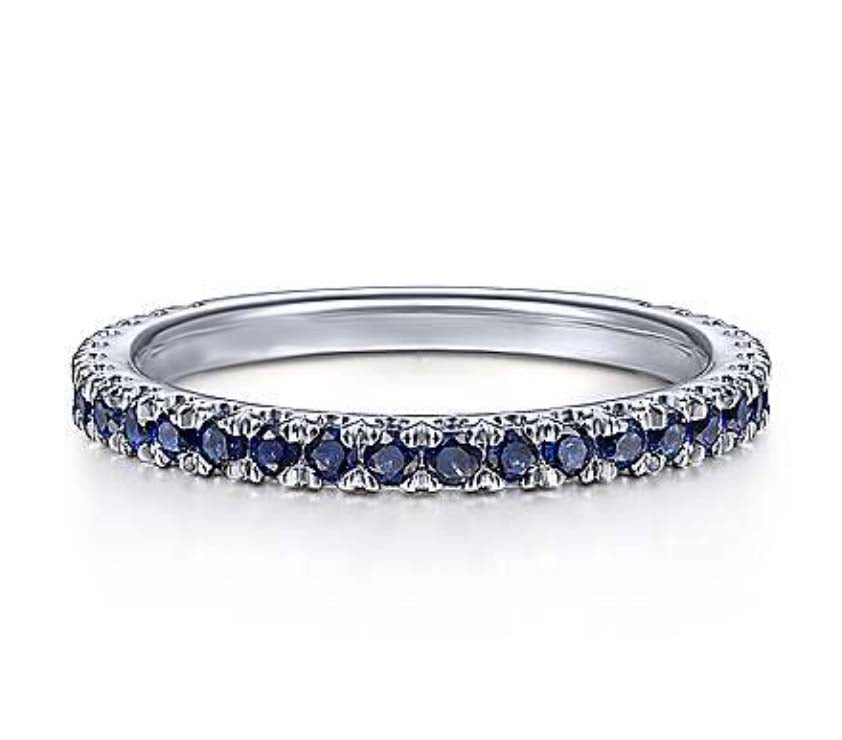 Genuine Blue Sapphire Gemstone Stackable 3/4 Band