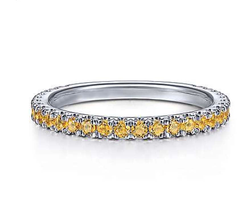 Genuine Citrine Gemstone Stackable 3/4 Band
