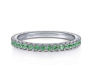 Genuine Emerald Gemstone Stackable 3/4 Band