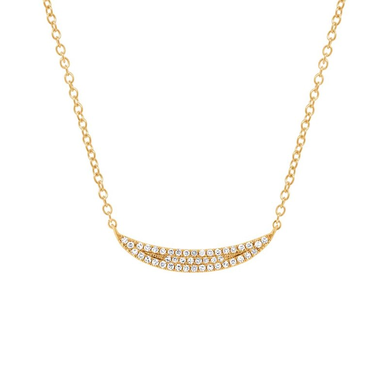 Crescent Diamond Pave Necklace in 14k Gold
