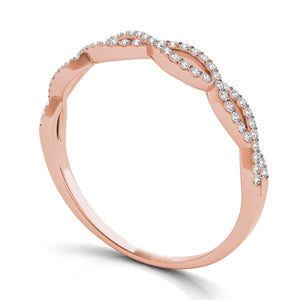 14k Rose Gold & Diamond Criss Cross Band