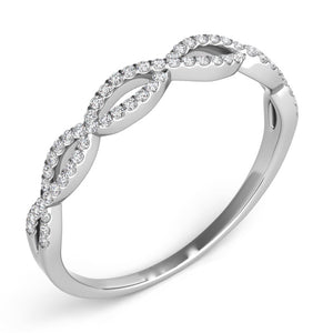 Platinum  & Diamond Criss Cross Band