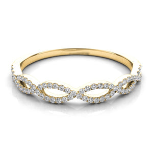 14K Gold Diamond Slim Criss Cross Band