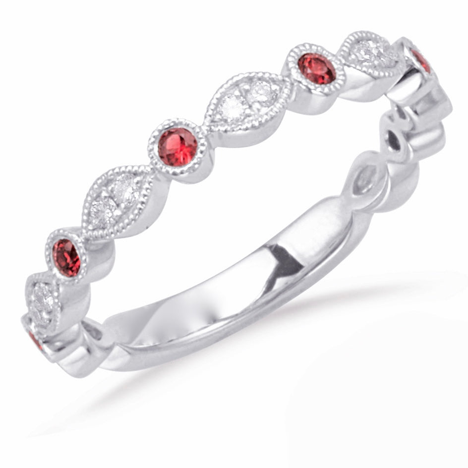 Diamond and Ruby Band in 14k Gold