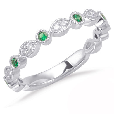 Diamond and Emerald Band in 14k Gold
