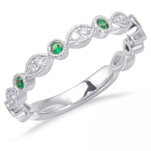 14k White Gold, Diamond & Emerald Ring