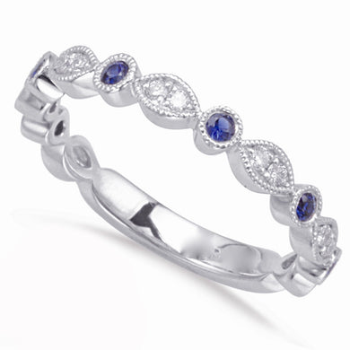 Diamond and Sapphire Band in 14k Gold