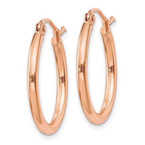 14k Rose Gold  High Polished 2mm Hoops
