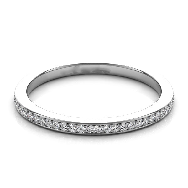 14k White Gold with Channel Set Diamonds Band